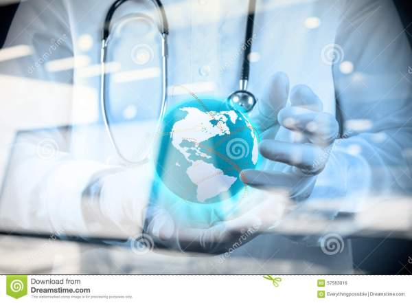 Medical Doctor Holding A World Globe In His Hands Stock ...