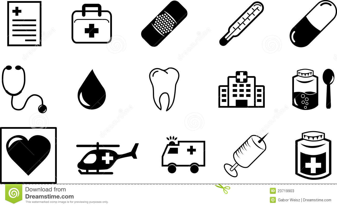 Medical Symbols And Icons Stock Vector Illustration Of