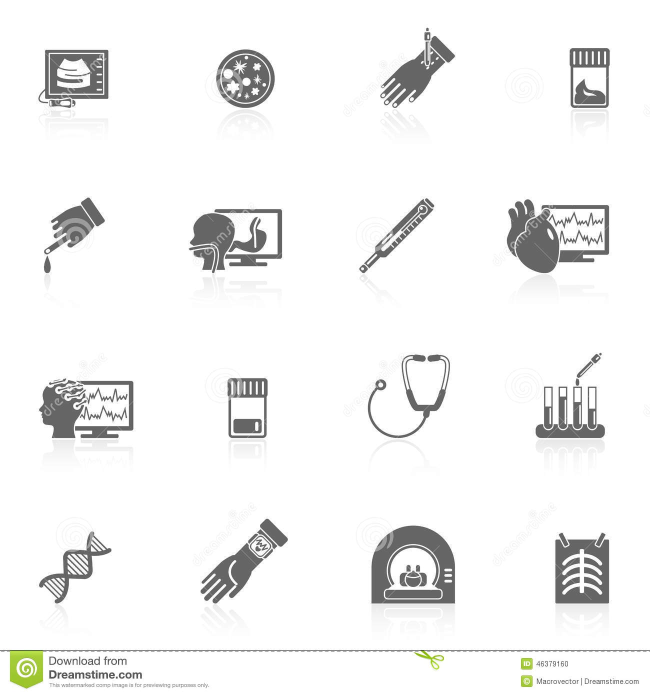 Medical Tests Icons Black Stock Vector