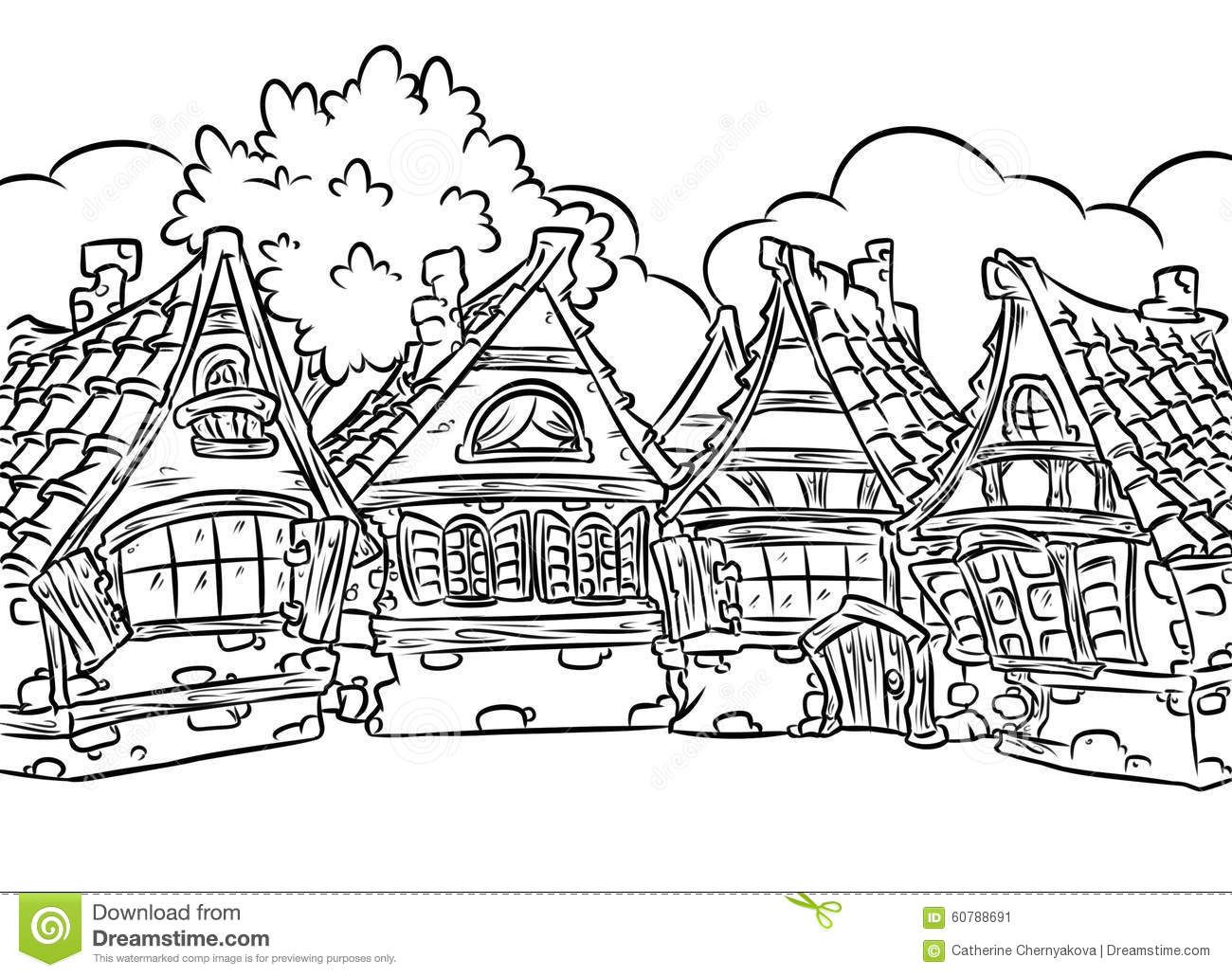 Me Val Half Timbered Houses Village Coloring Page