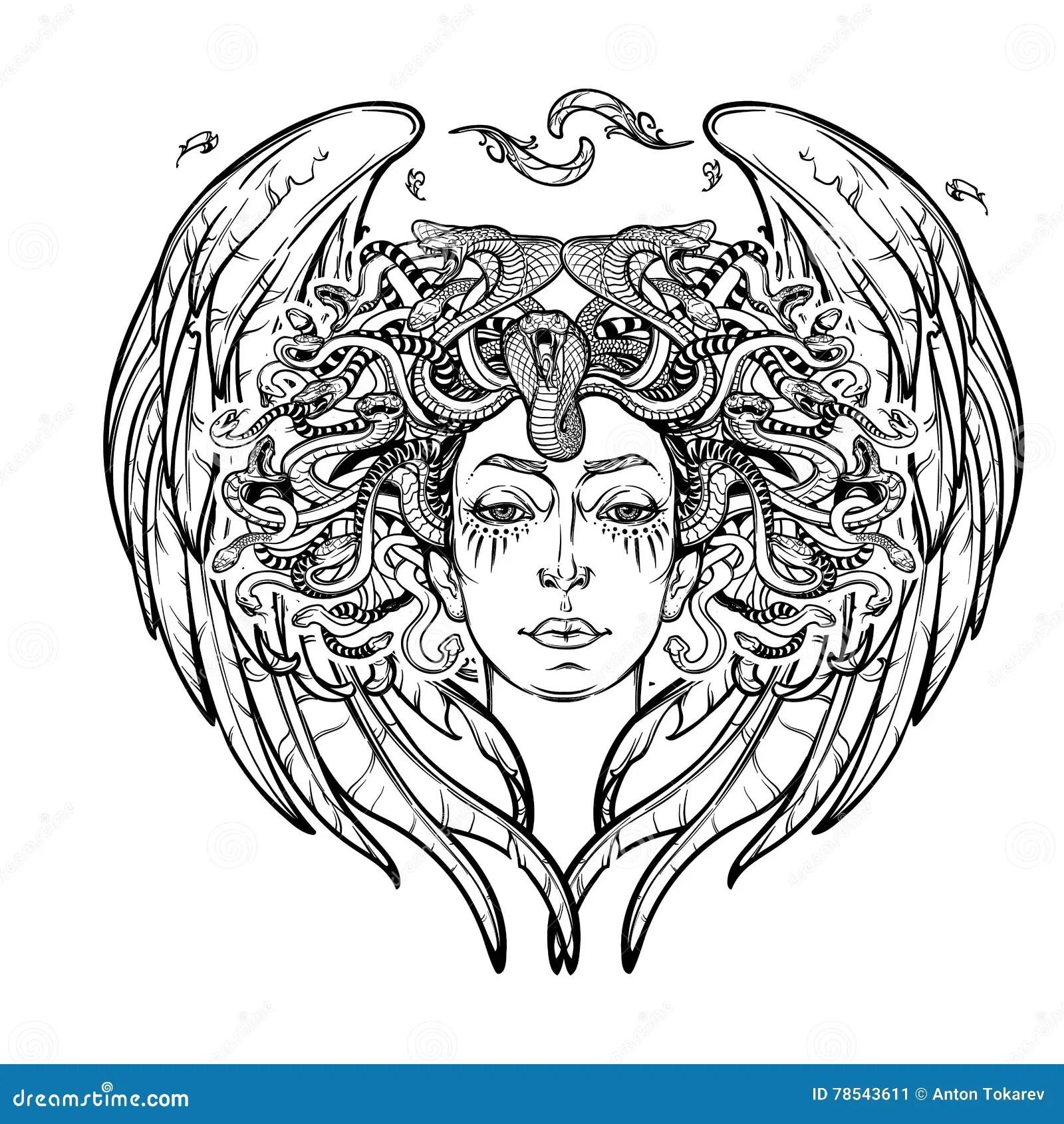 Medusa Gorgon Bw Sketch Stock Vector Illustration Of