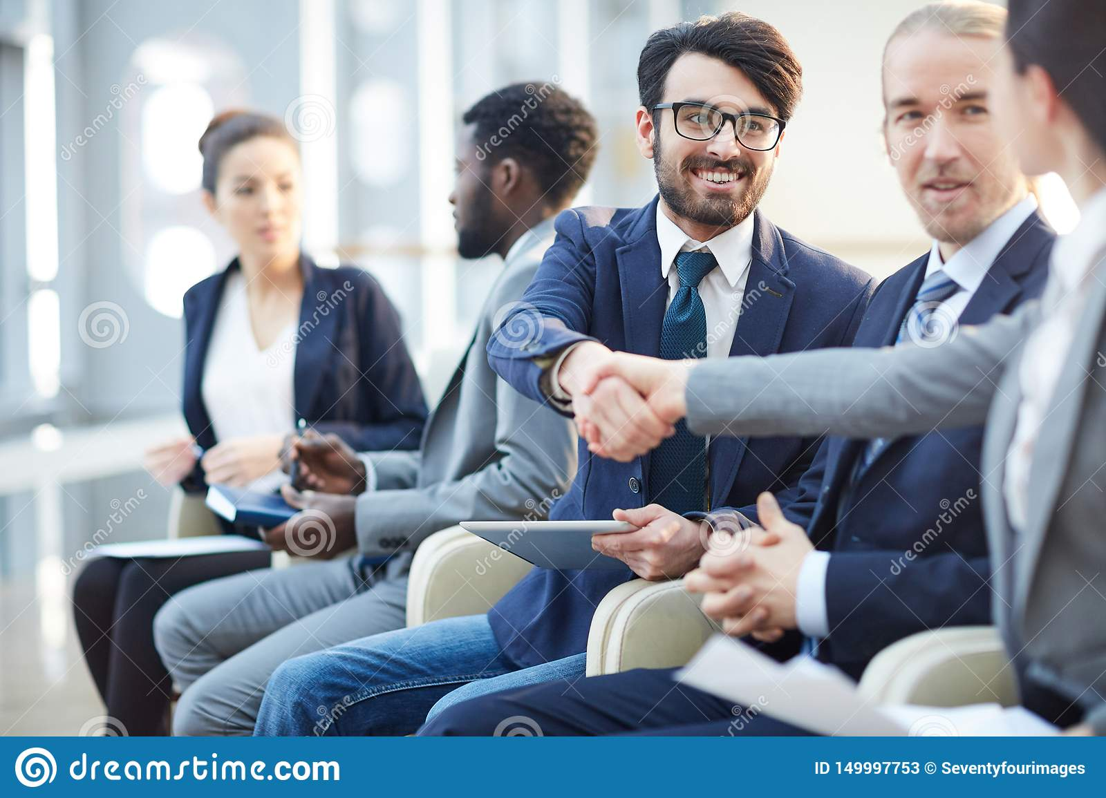 Meeting New People At Conference Stock Image