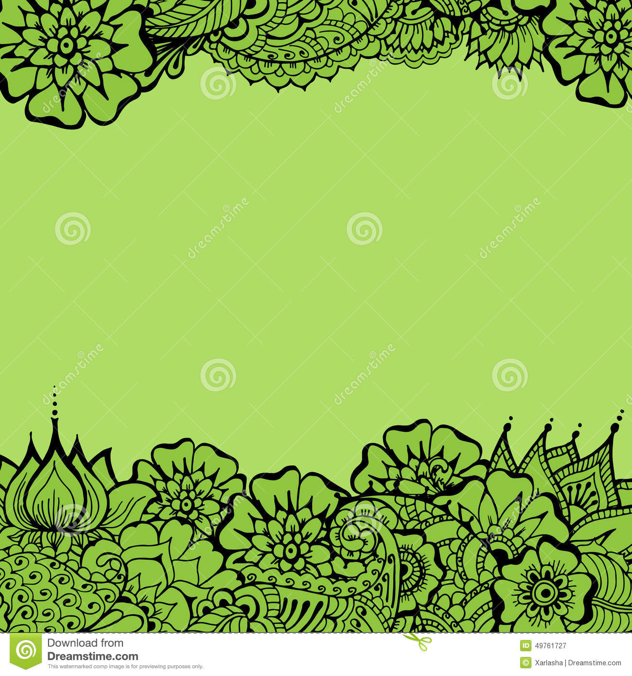 Mehndy Flowers Card Stock Vector Illustration Of