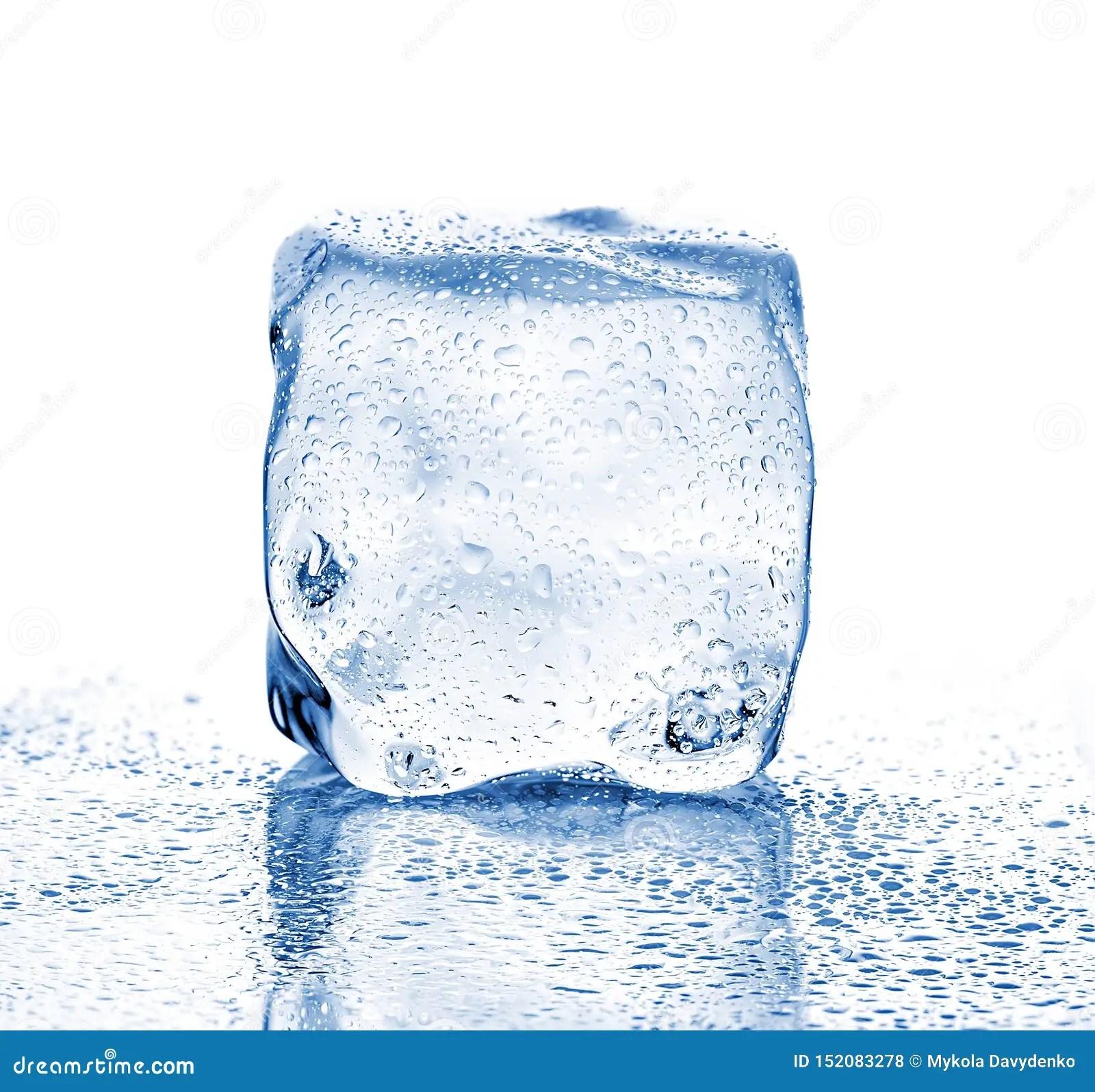 Melting Ice Cube Close Up On A White Background Stock