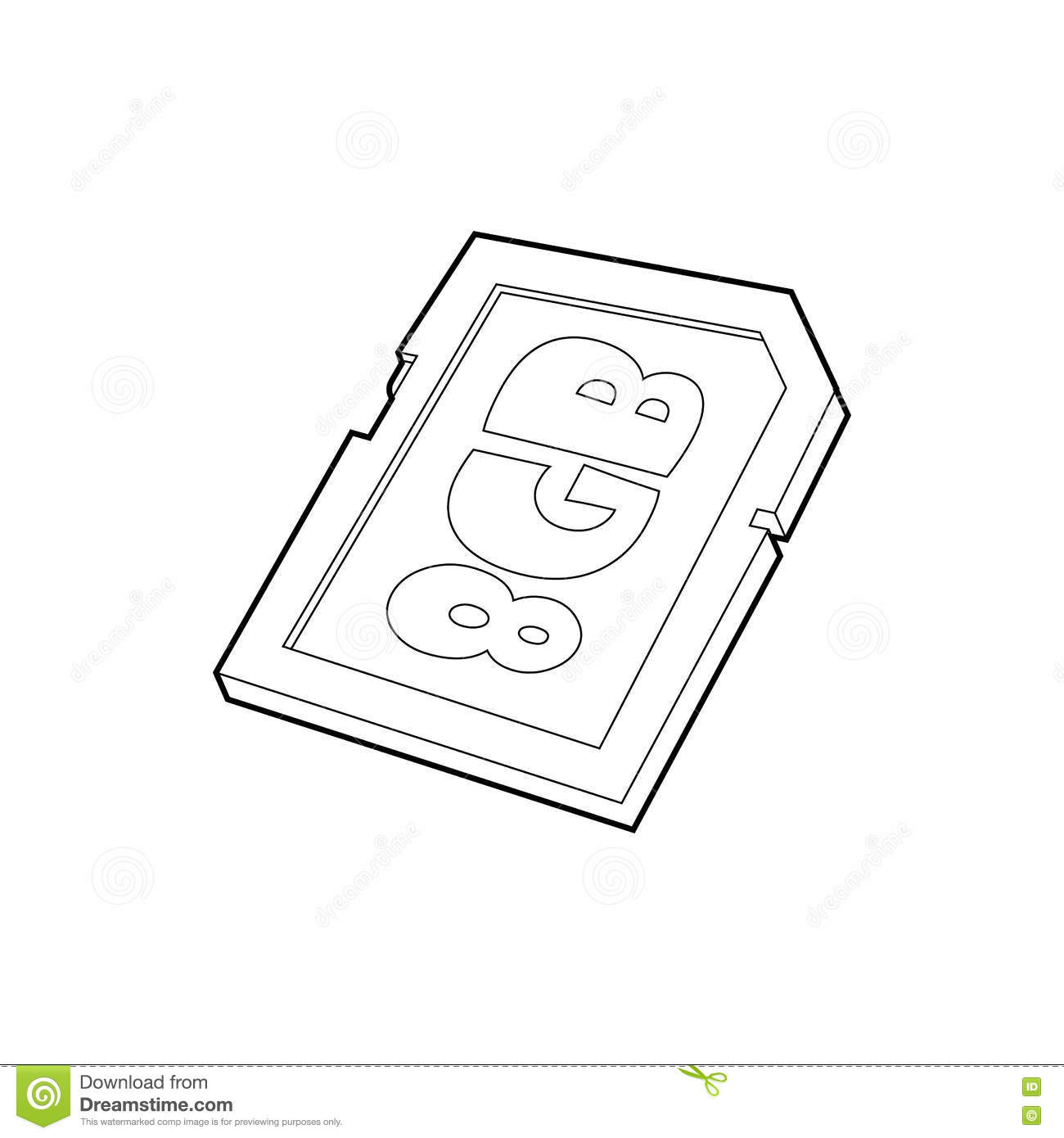 Phone Chip Icon Outline Style Vector Illustration