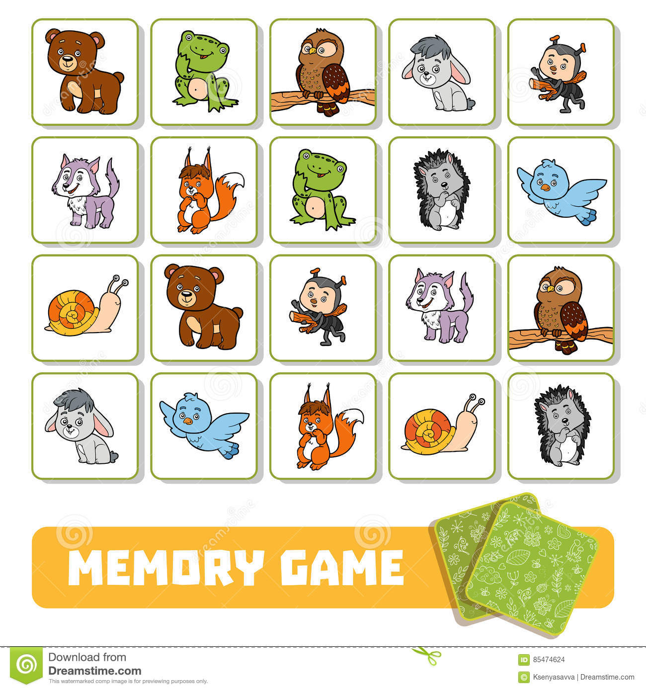Memory Game For Children Cards With Forest Animals Stock