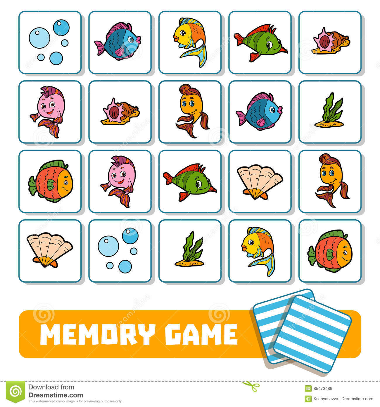 Memory Game For Children Cards About Sea World Stock