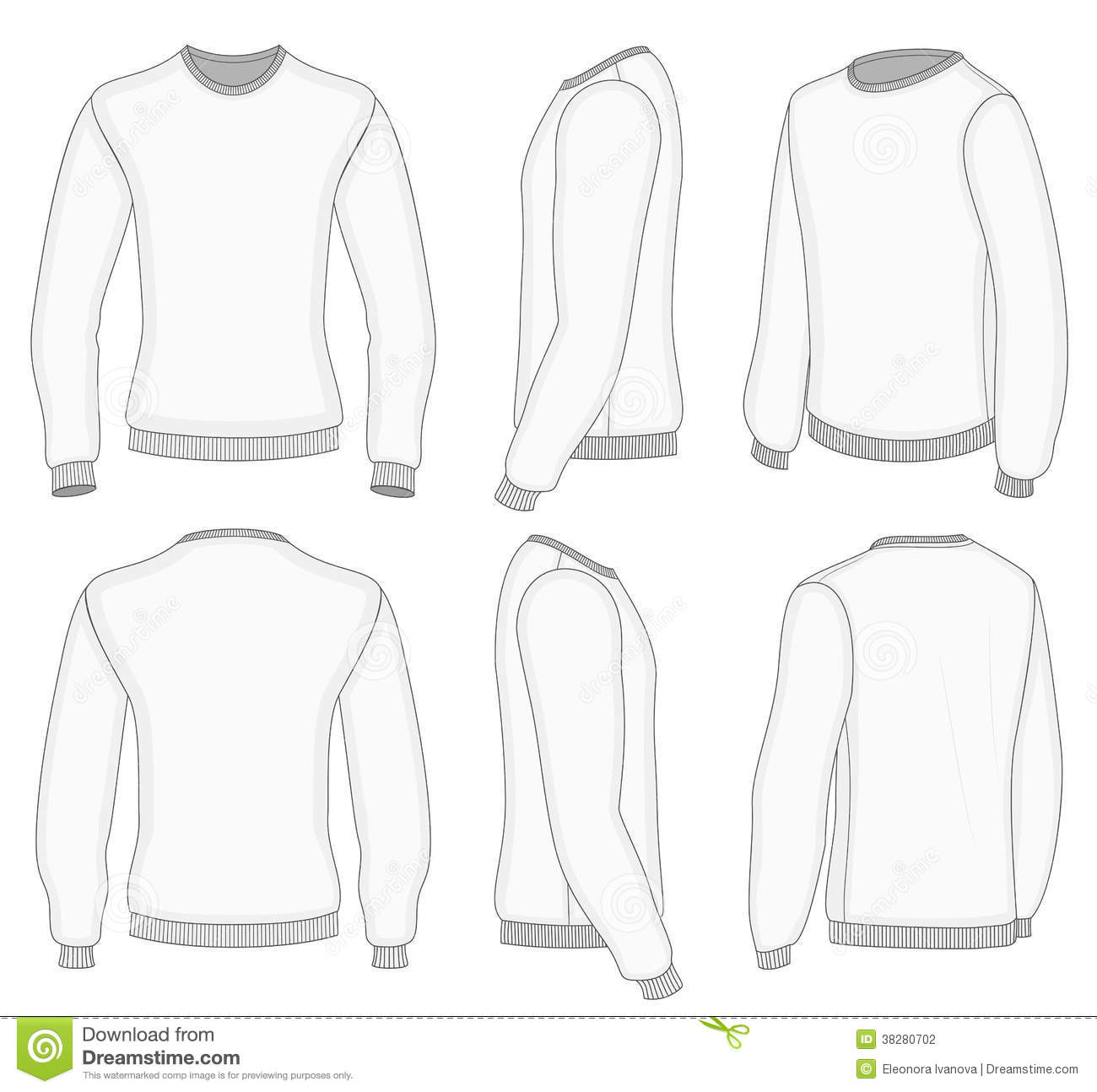 Men S White Long Sleeve T Shirt Stock Vector