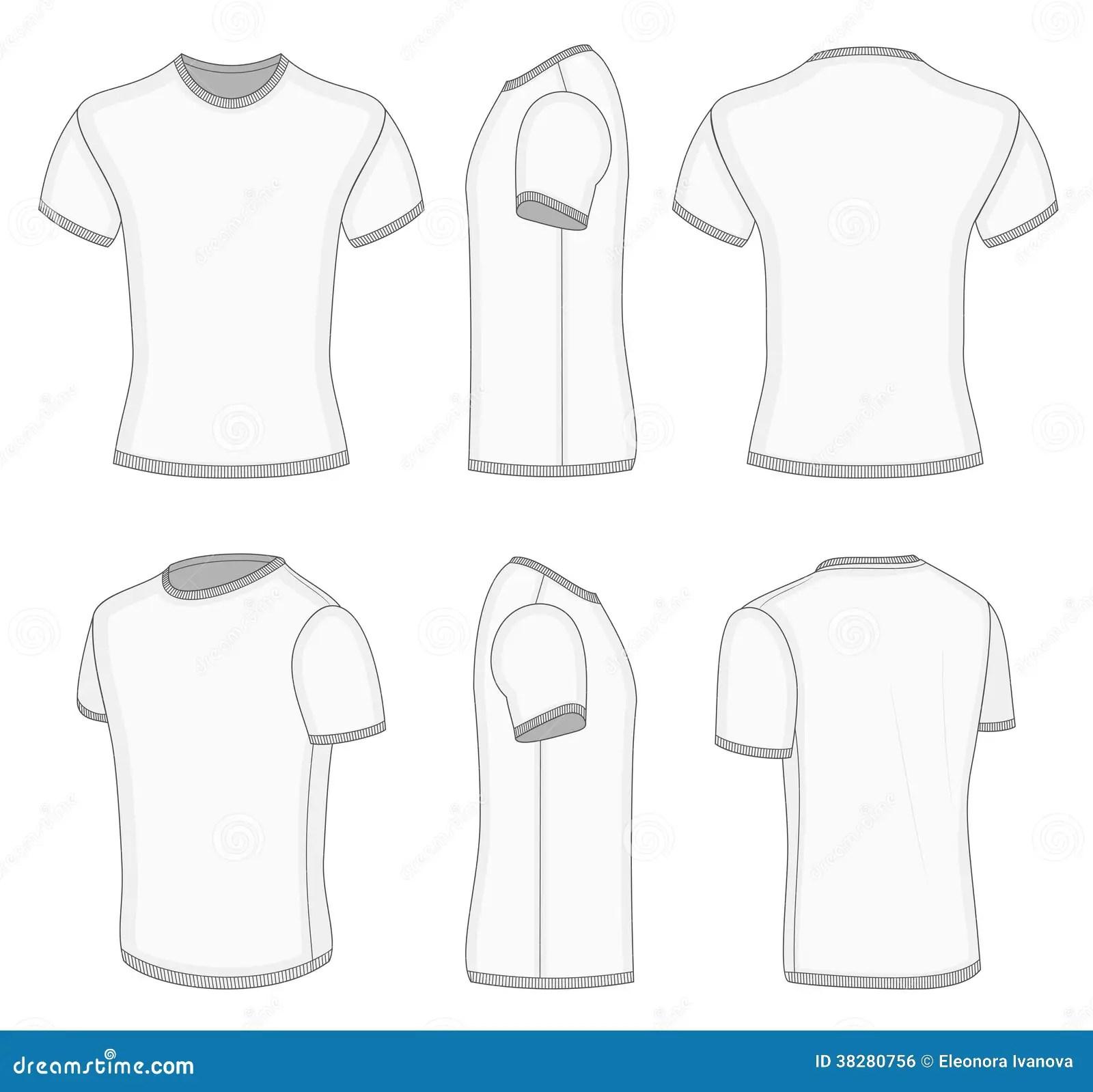 Men S White Short Sleeve T Shirt Stock Vector
