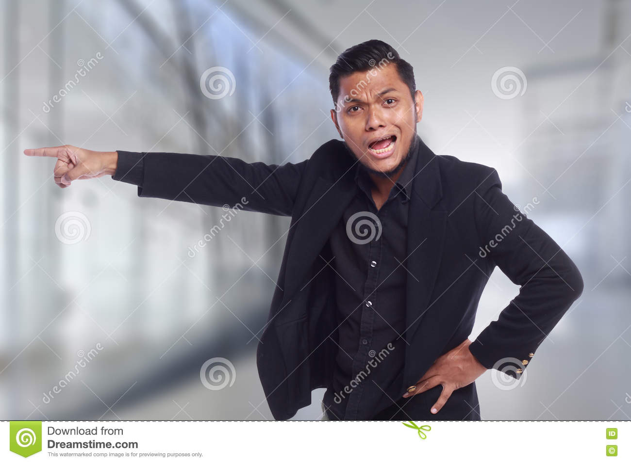 Men Showing His Expression Angry Face While His Finger