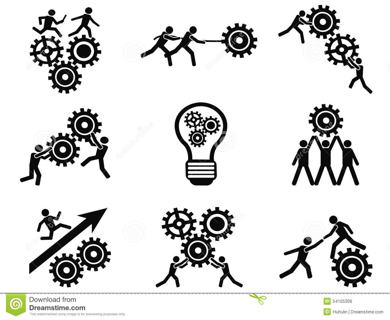 Men Teamwork Gears Pictogram Icons Set Stock Vector