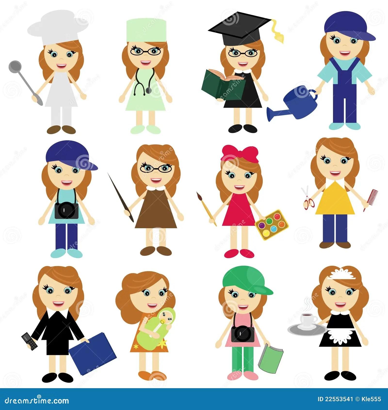 Meninas Diferentes Dos Trabalhos No Branco Ilustracao Do