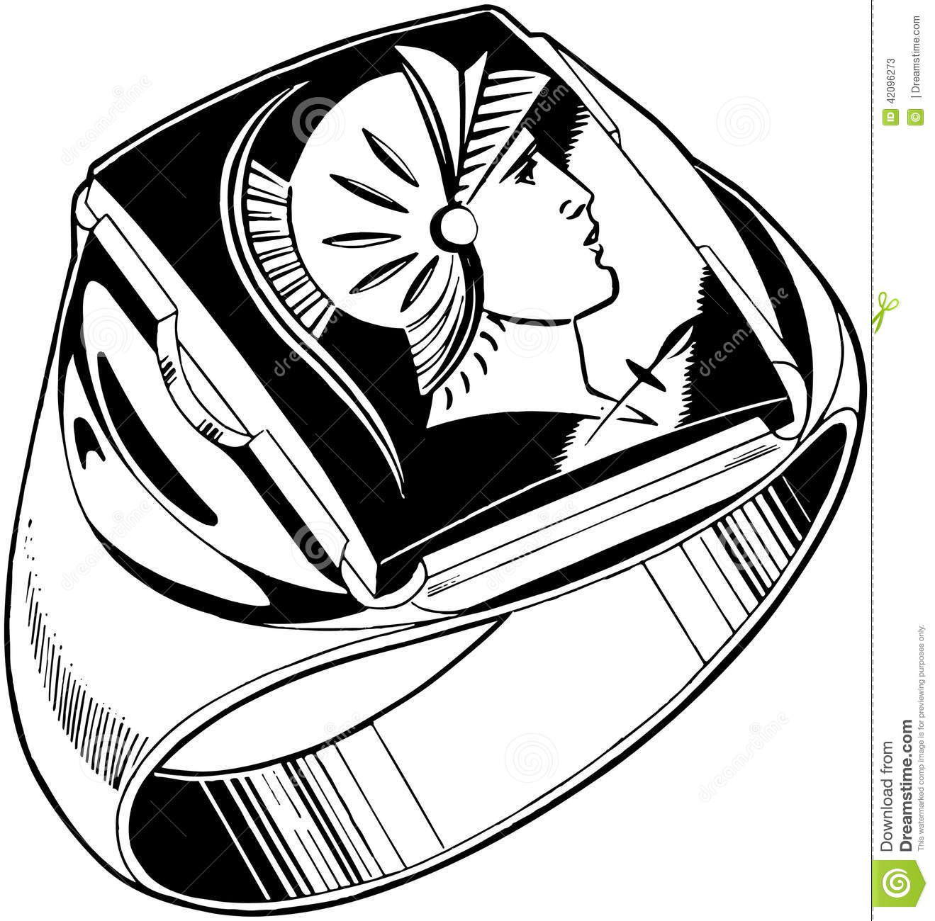 Mens Trojan Ring Stock Vector