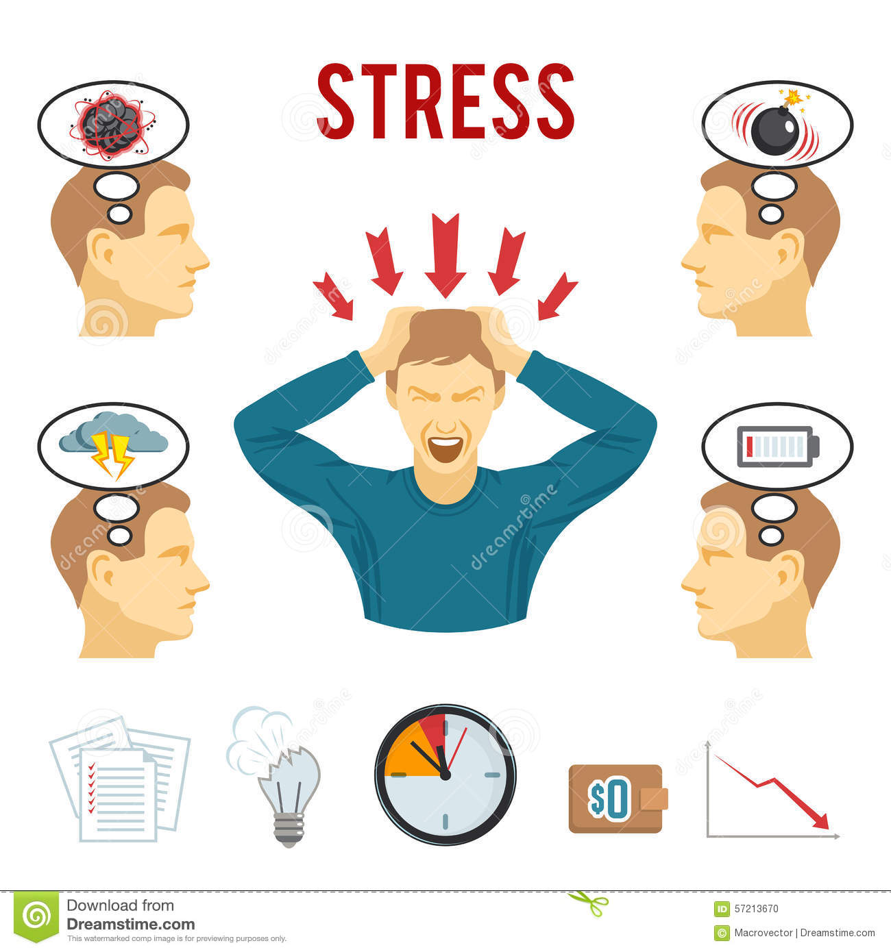 Mental Disorder And Stress Icons Set Stock Vector