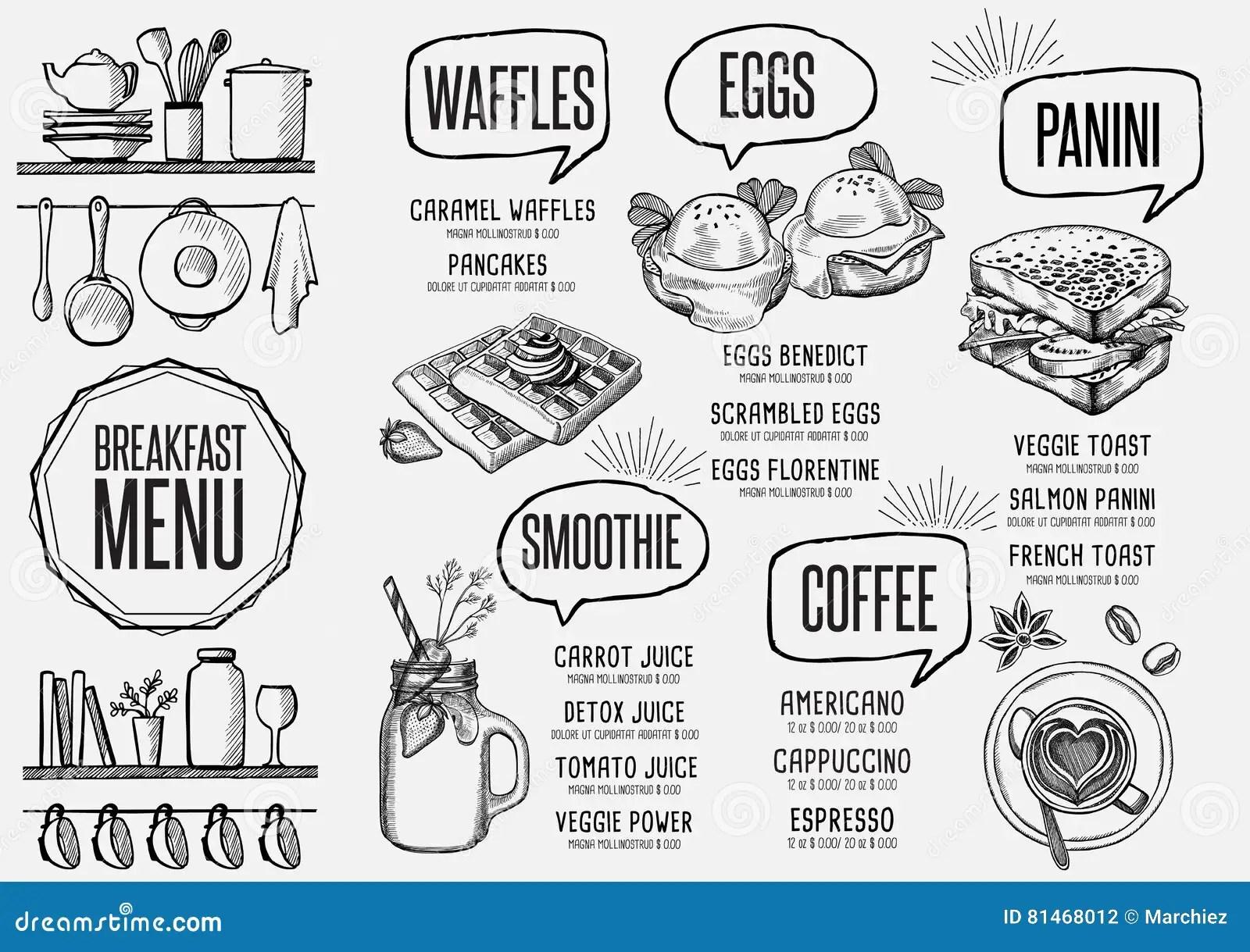 Menu Breakfast Restaurant Food Template Placemat Stock