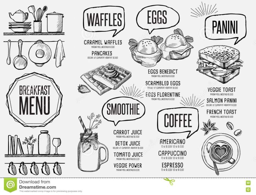 menu breakfast restaurant food template placemat. stock