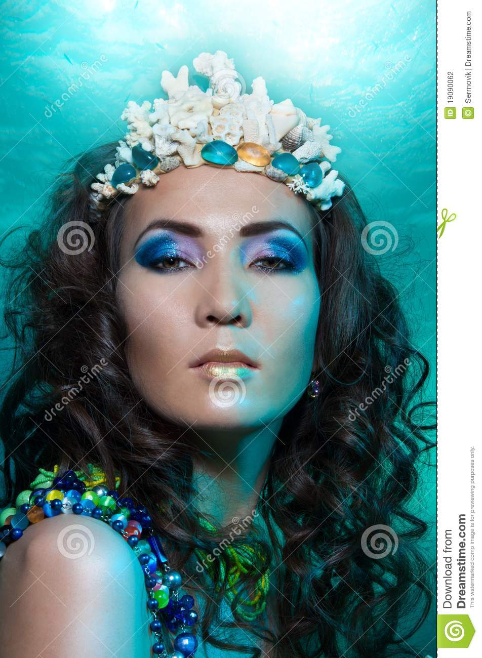 Mermaid Queen In Coral Crown Stock Photo Image 19090062