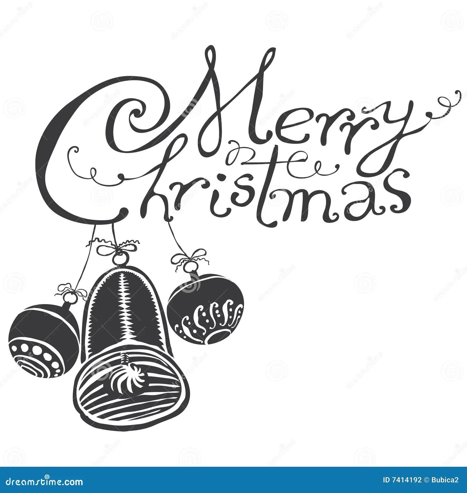 Merry Christmas Black Amp White Stock Vector