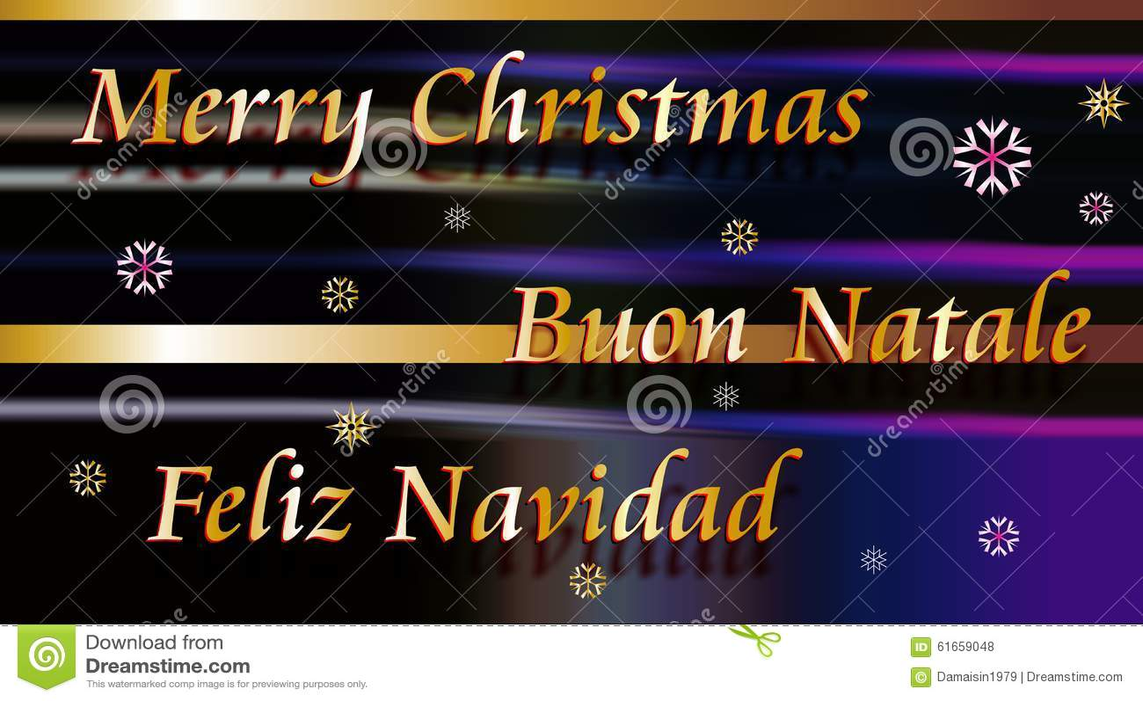 Merry Christmas Buon Natale And Feliz Navidad Stock