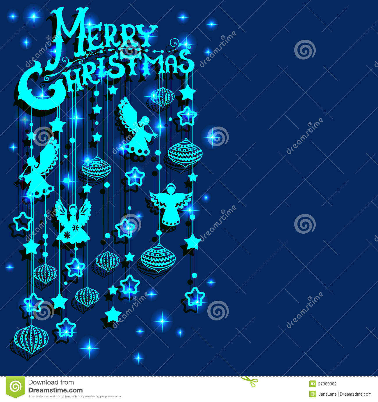 Merry Christmas Card With Angels Paper Cut Style Stock