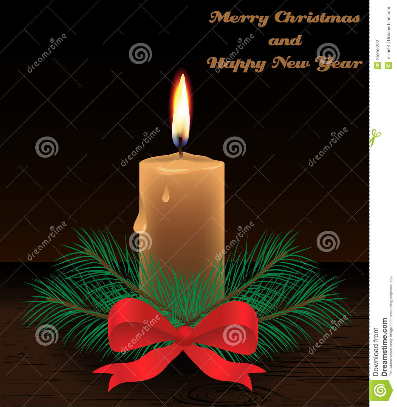 Merry Christmas Card With Candle Stock Vector Image