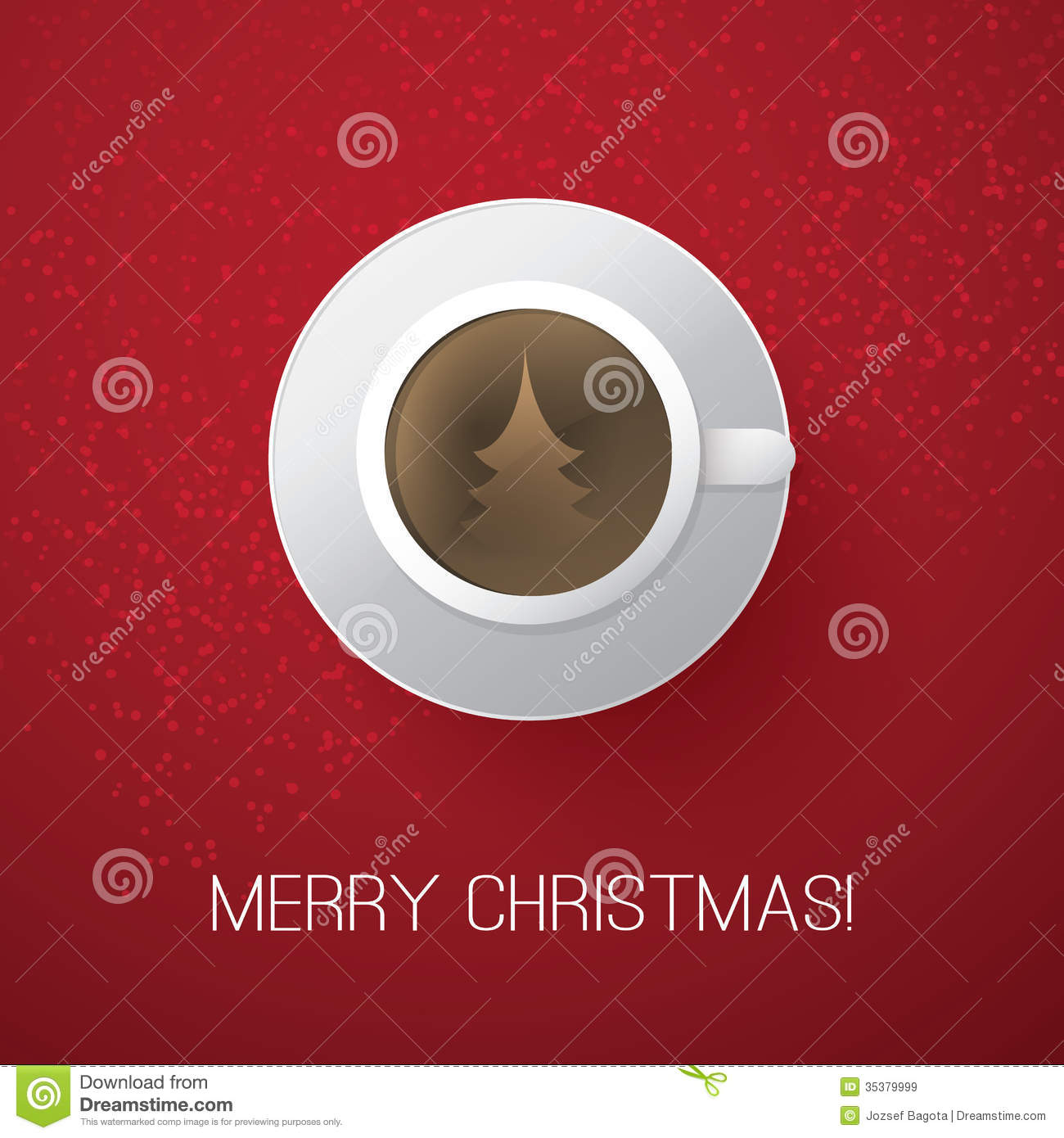 Merry Christmas Card With Coffee Cup Royalty Free Stock