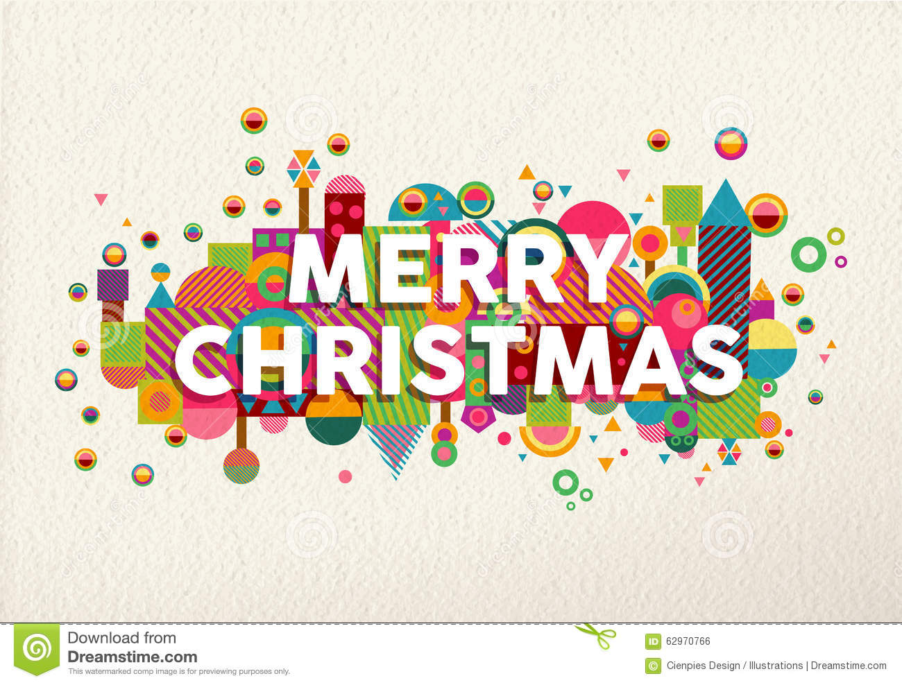 Merry Christmas Colorful Fun Geometry Environment Stock
