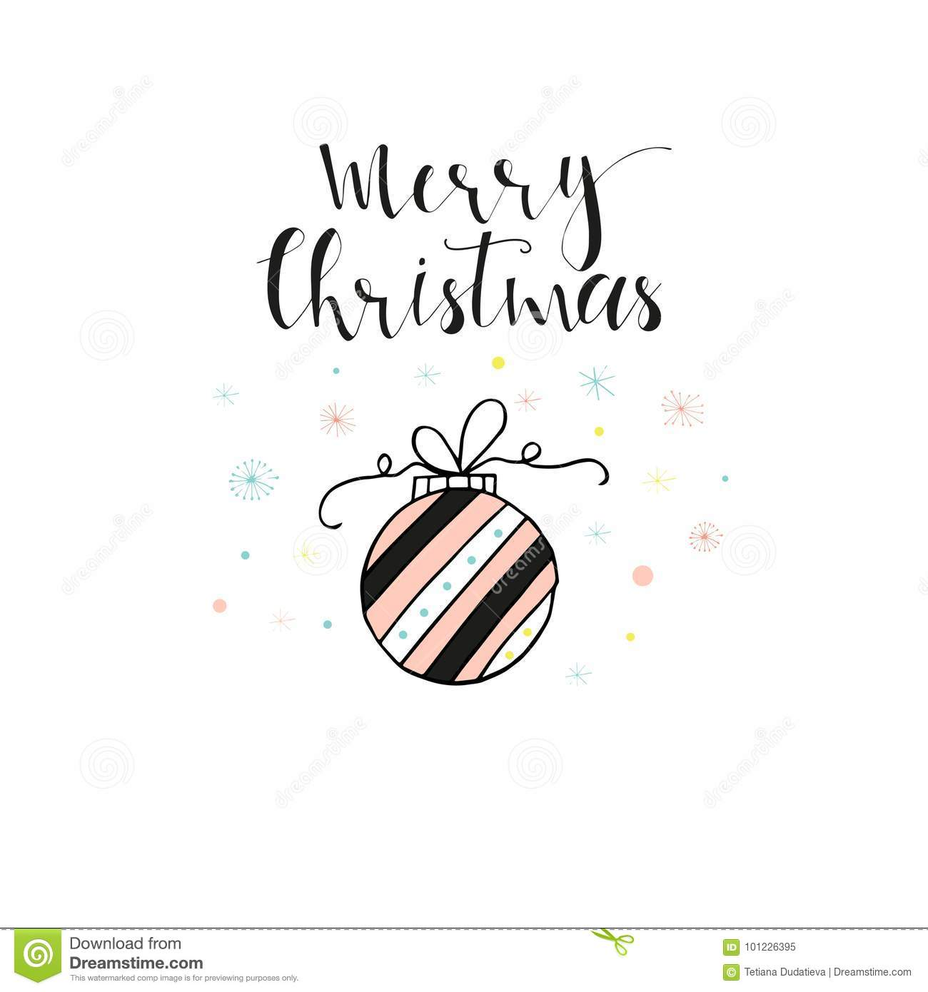 Merry Christmas Cute Greeting Card Stock Illustration