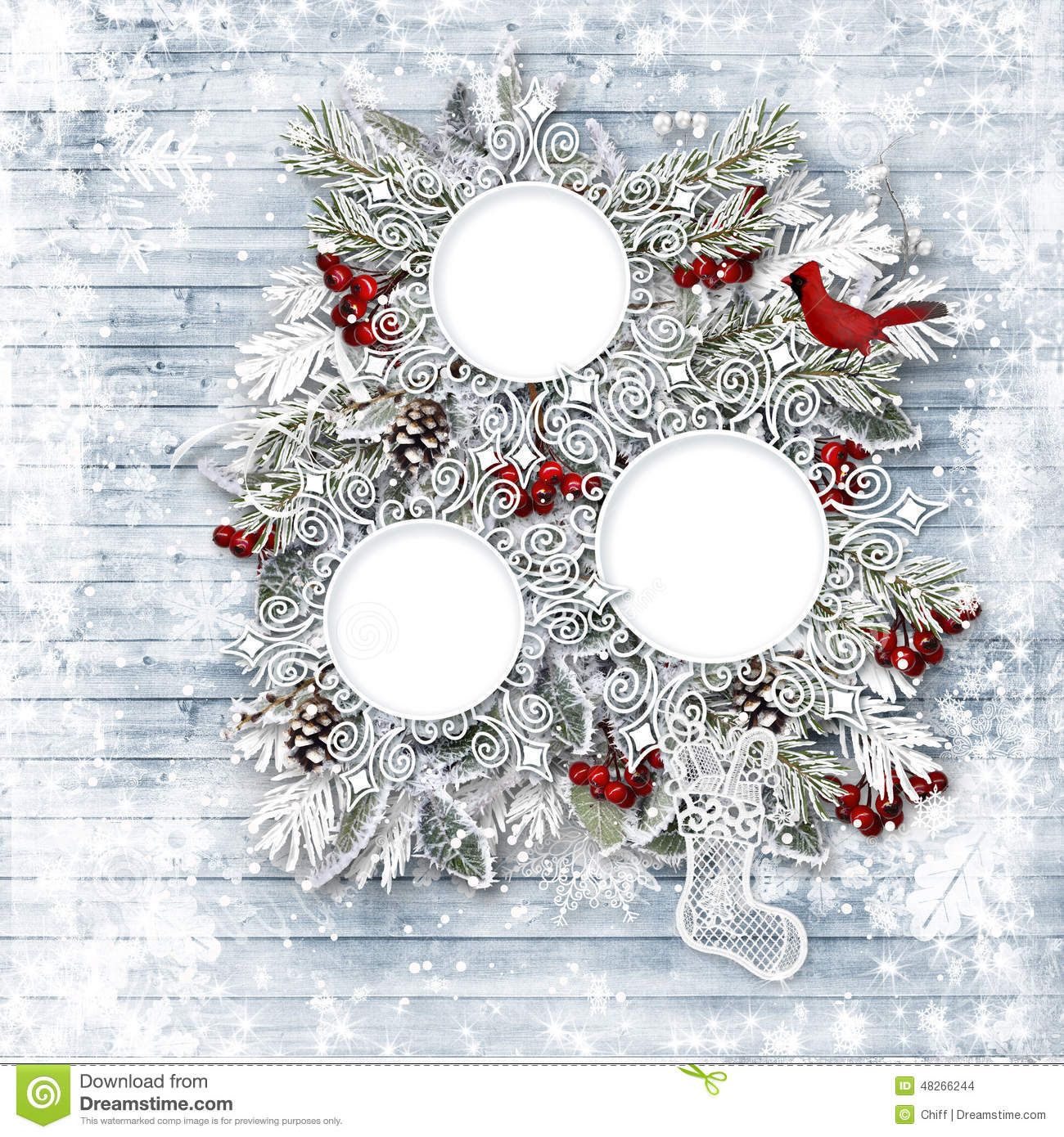 Merry Christmas Family Card Winter Wooden Background
