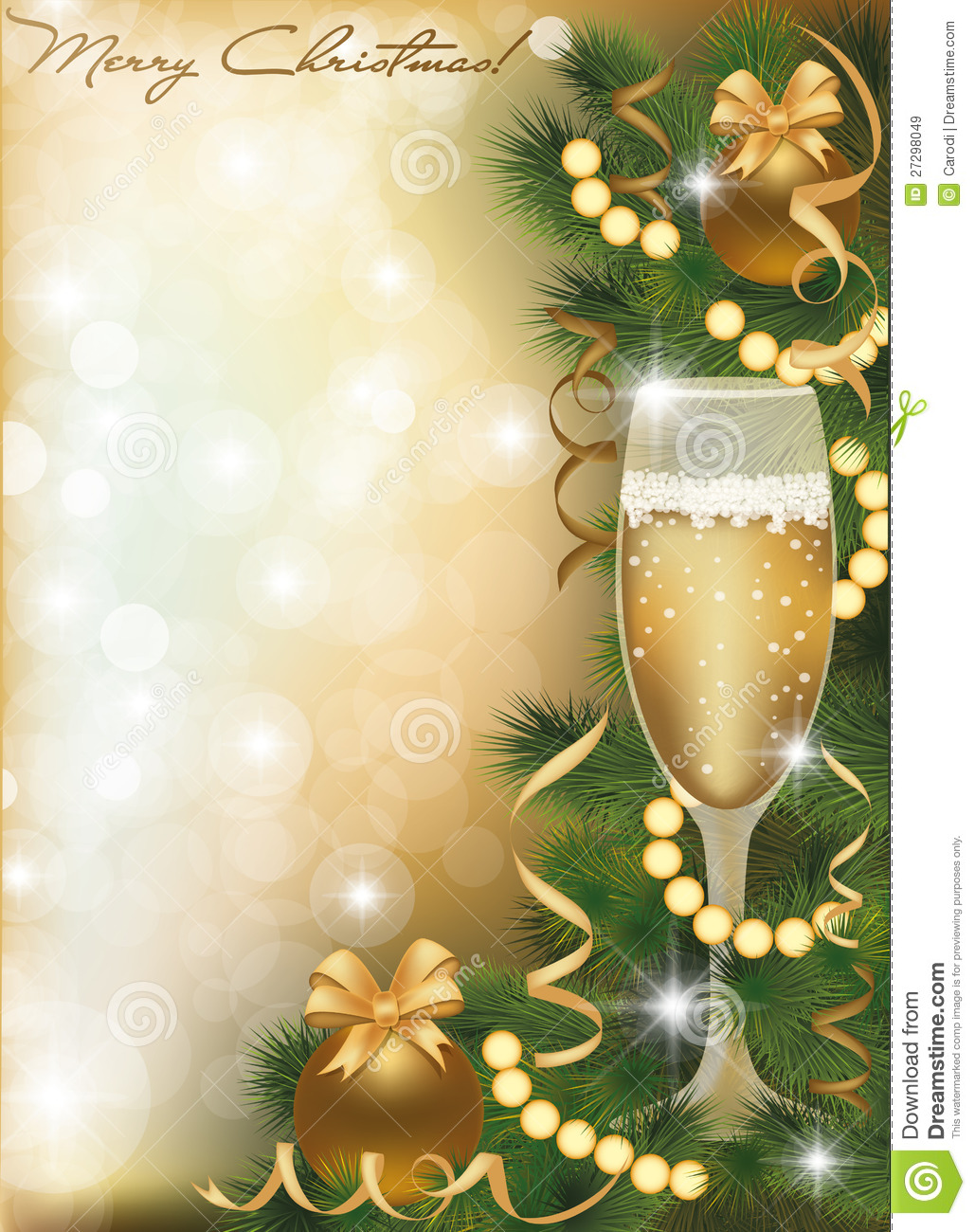 Merry Christmas Greeting Card With Champagne Royalty Free