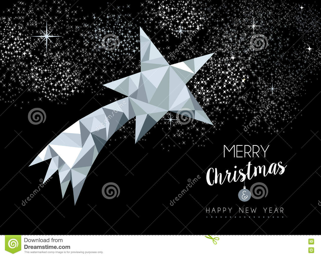 Merry Christmas Greeting Card With Silver Star Stock
