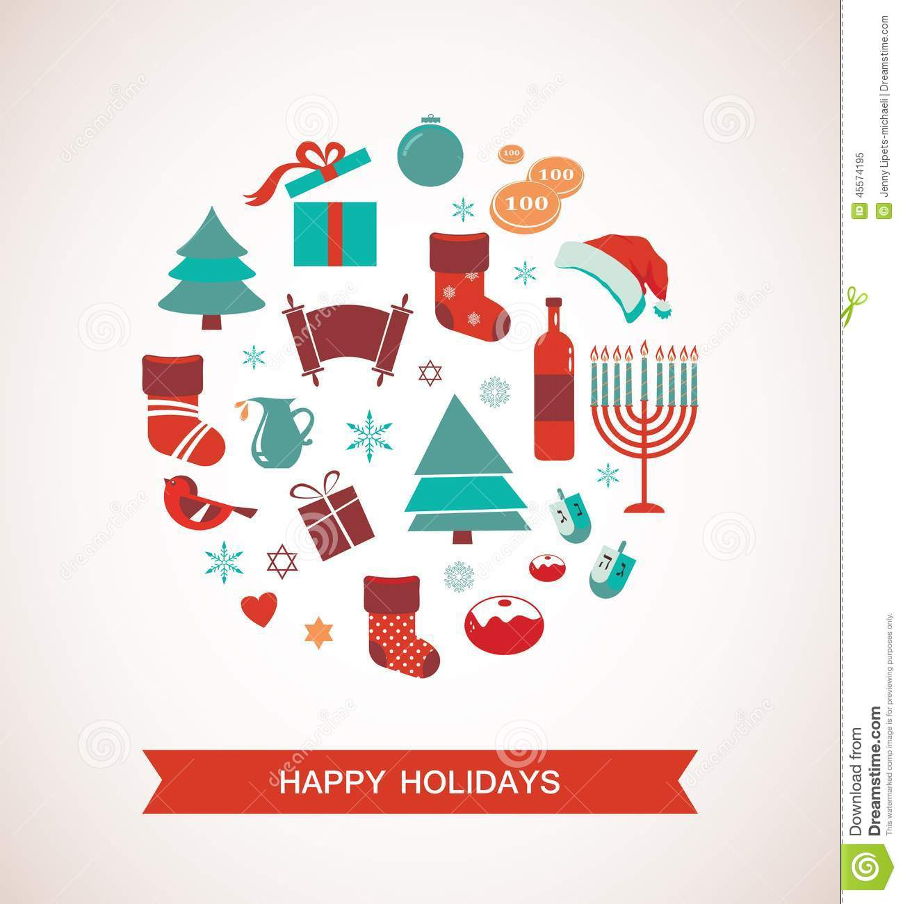 Merry Christmas And Happy Hanukkah Seasonal Objects Stock