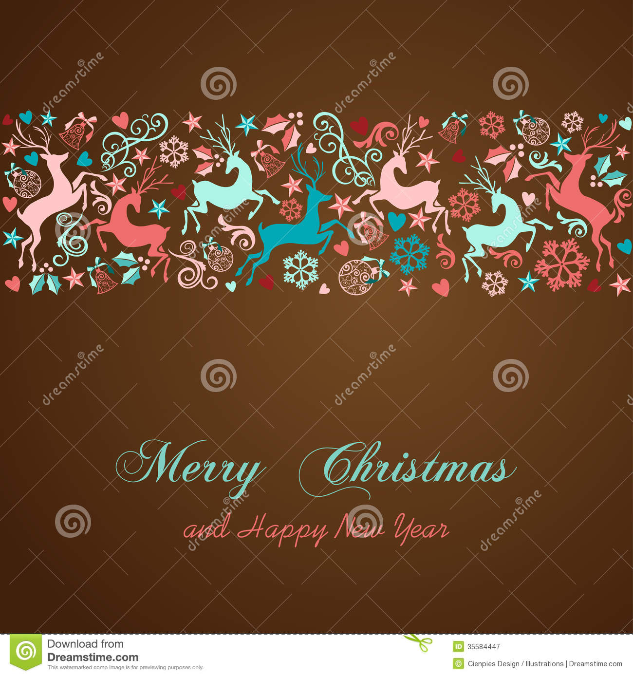 Merry Christmas And Happy New Year Greeting Card Stock Vector     Merry Christmas and Happy New Year greeting card