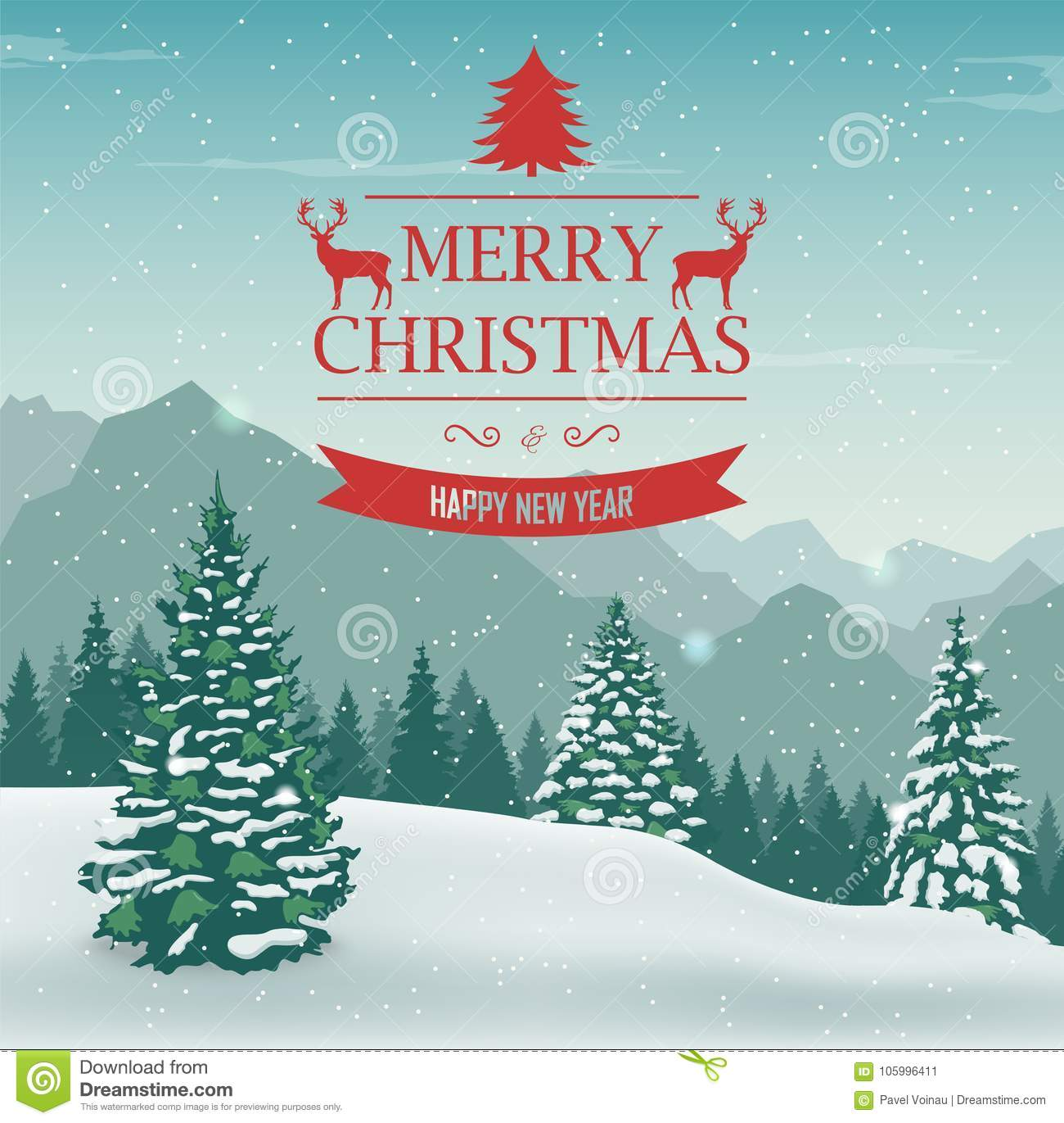 Merry Christmas And Happy New Year Greeting Card Winter