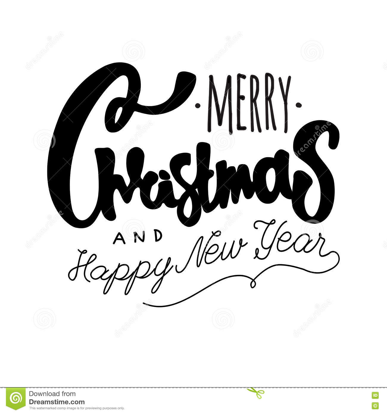 Merry Christmas And Happy New Year Hand Drawn Retro