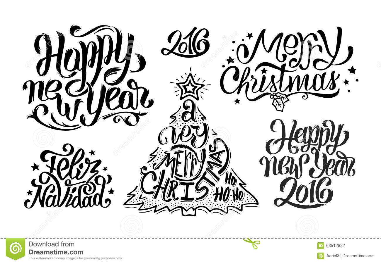 Merry Christmas And Happy New Year Typography Stock Vector