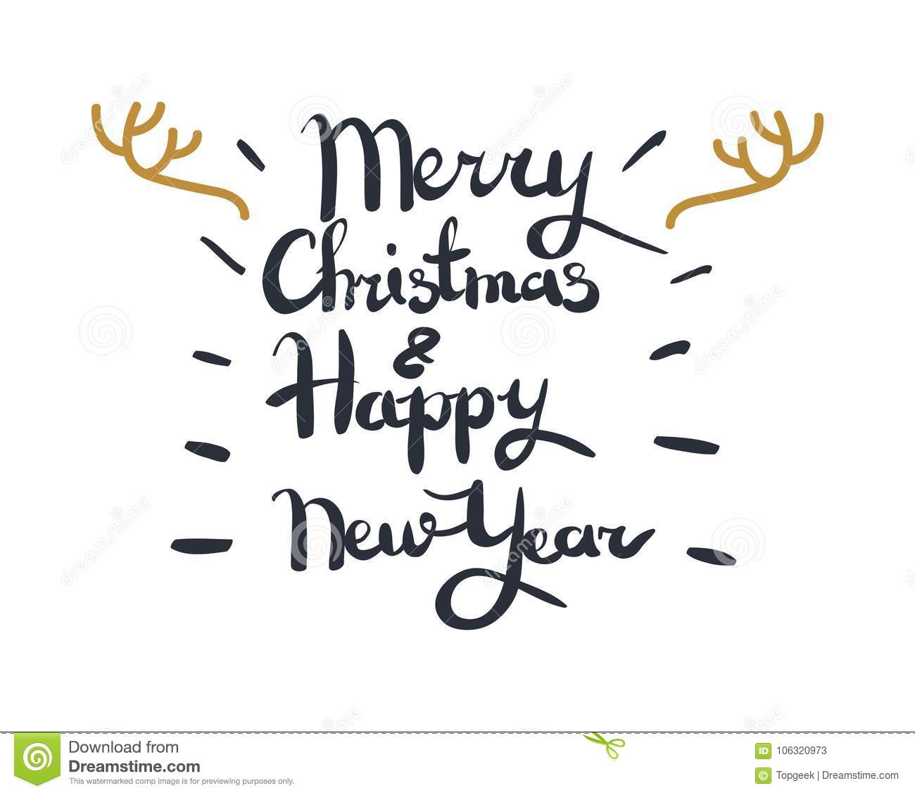 Merry Christmas And Happy New Year Greeting Card Stock