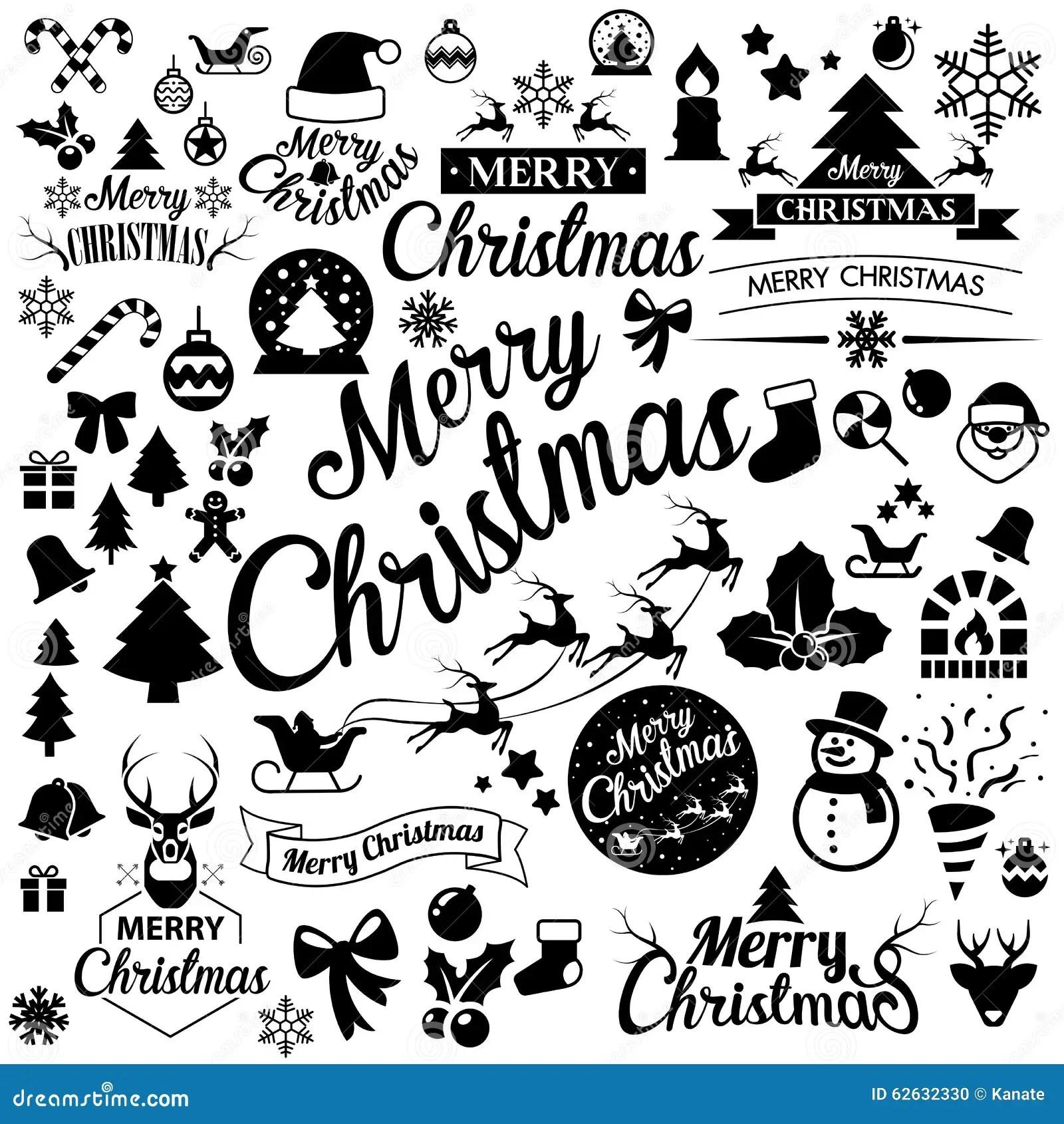 Merry Christmas Icons Set Stock Vector