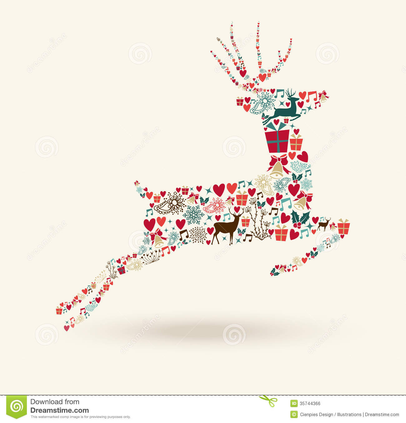 Merry Christmas Jump Deer Illustration Royalty Free Stock