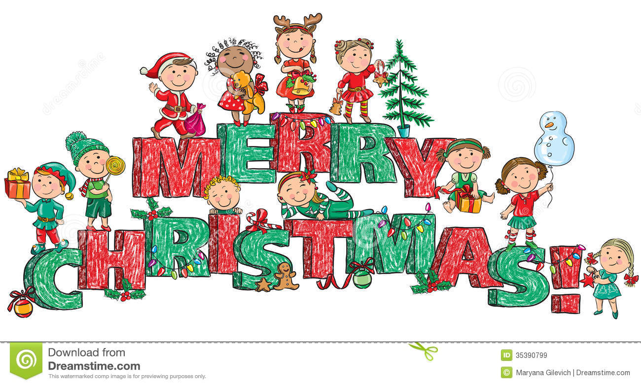 Merry Christmas Kids On Letters Stock Vector