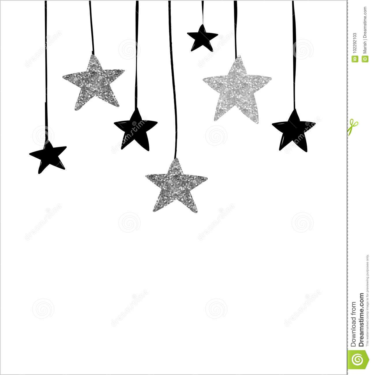 Merry Christmas Greeting Card With Hanging Stars Stock