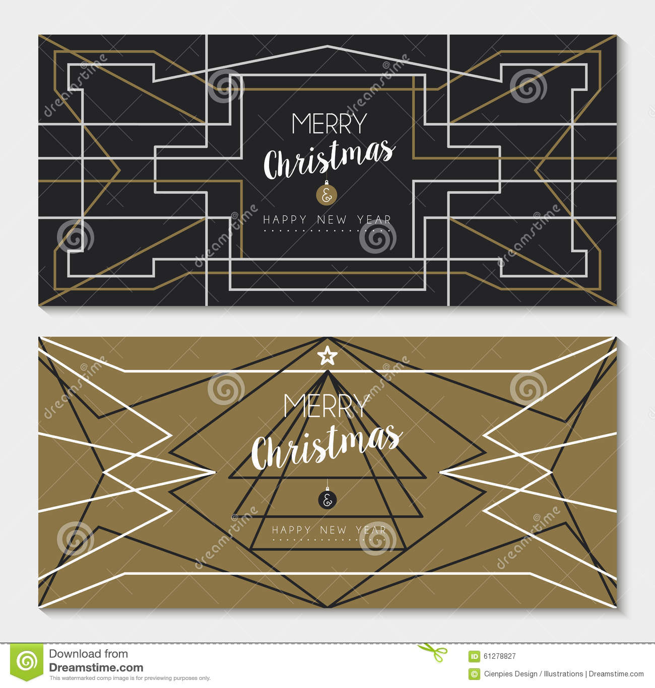 Merry Christmas New Year Art Deco Outline Card Set Stock