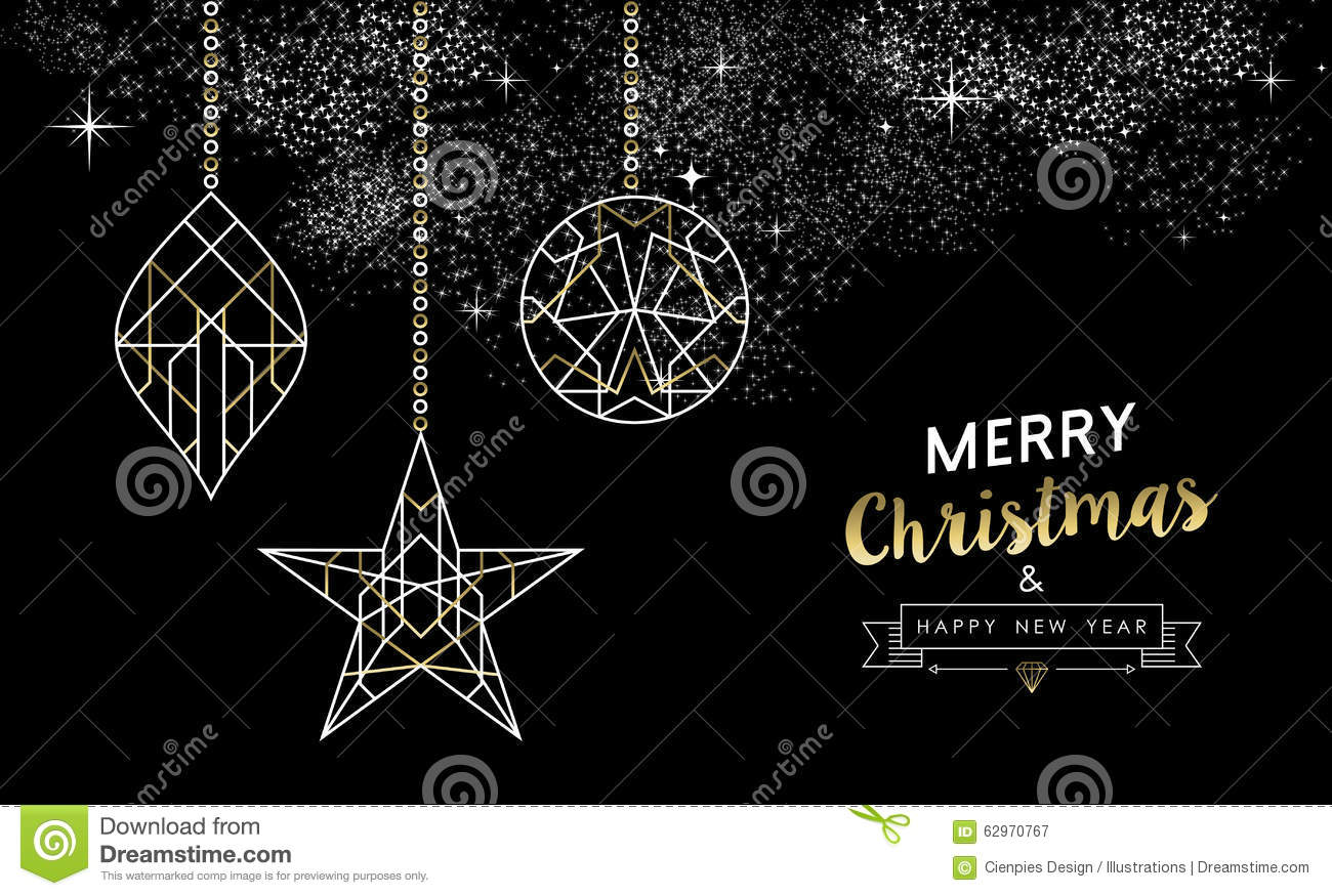 Merry Christmas New Year Decoration Outline Gold Stock