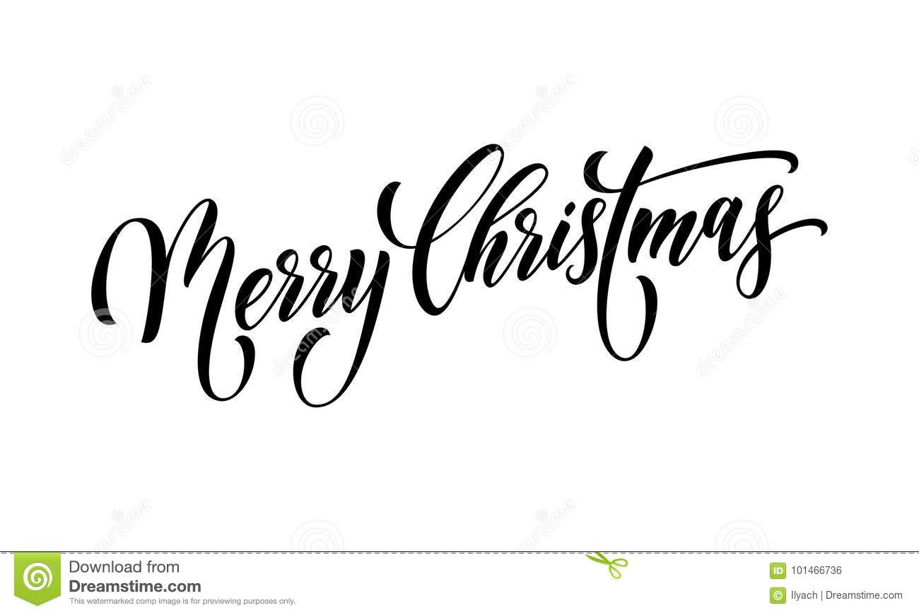 Merry Christmas Quote Greeting Card Calligraphy Vector