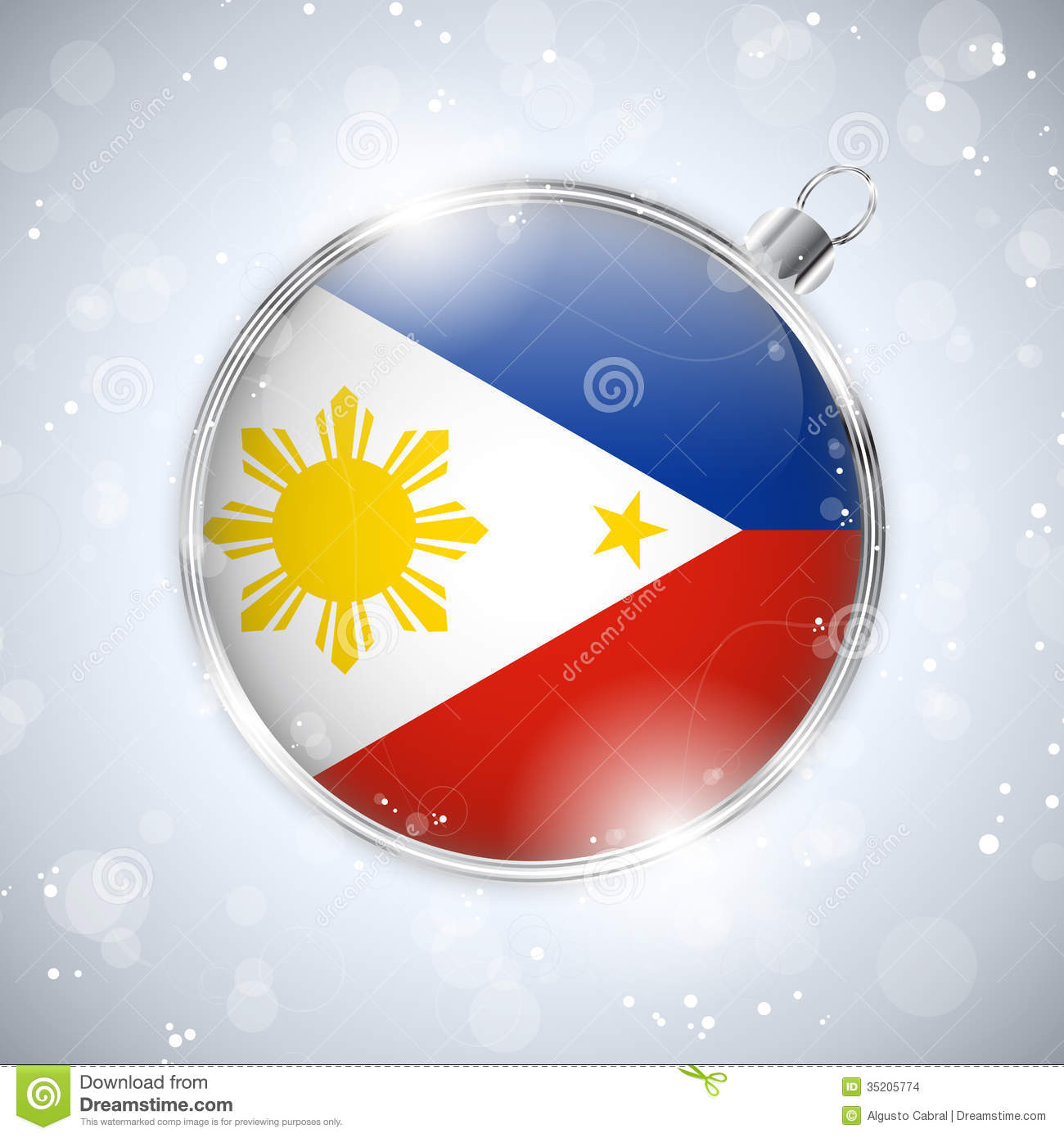 Merry Christmas Silver Ball With Flag Philippines Stock