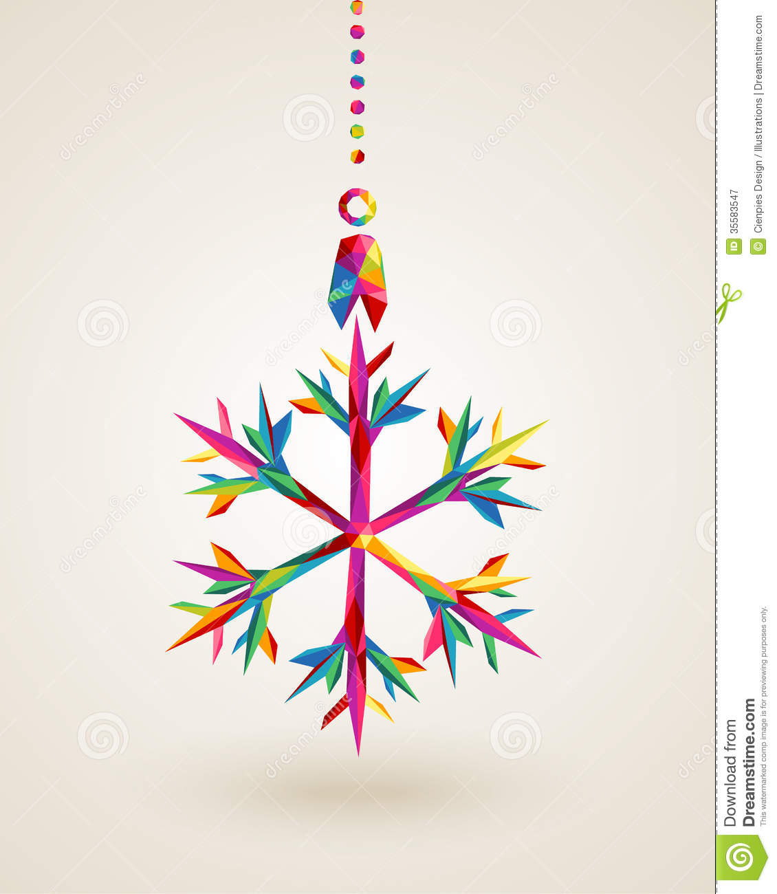 Merry Christmas Snowflake Multicolors Hanging Bauble