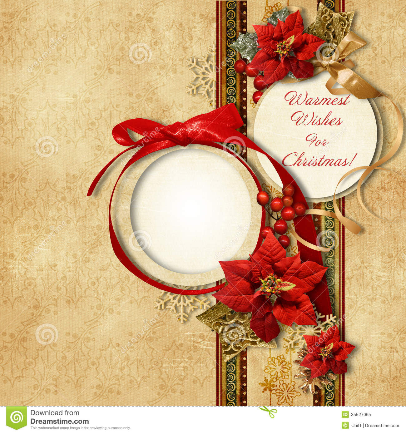 Merry Christmas Vintage Card With Frameamppoinsettia Stock