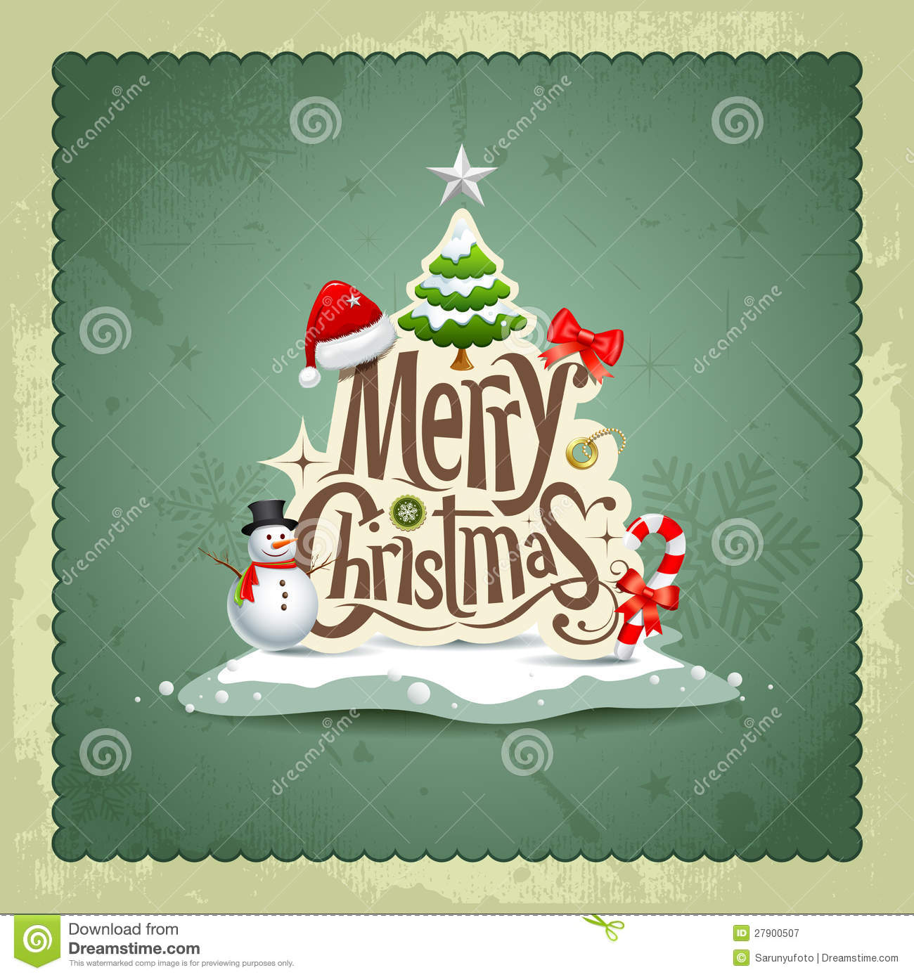 Merry Christmas Vintage Design Background Royalty Free
