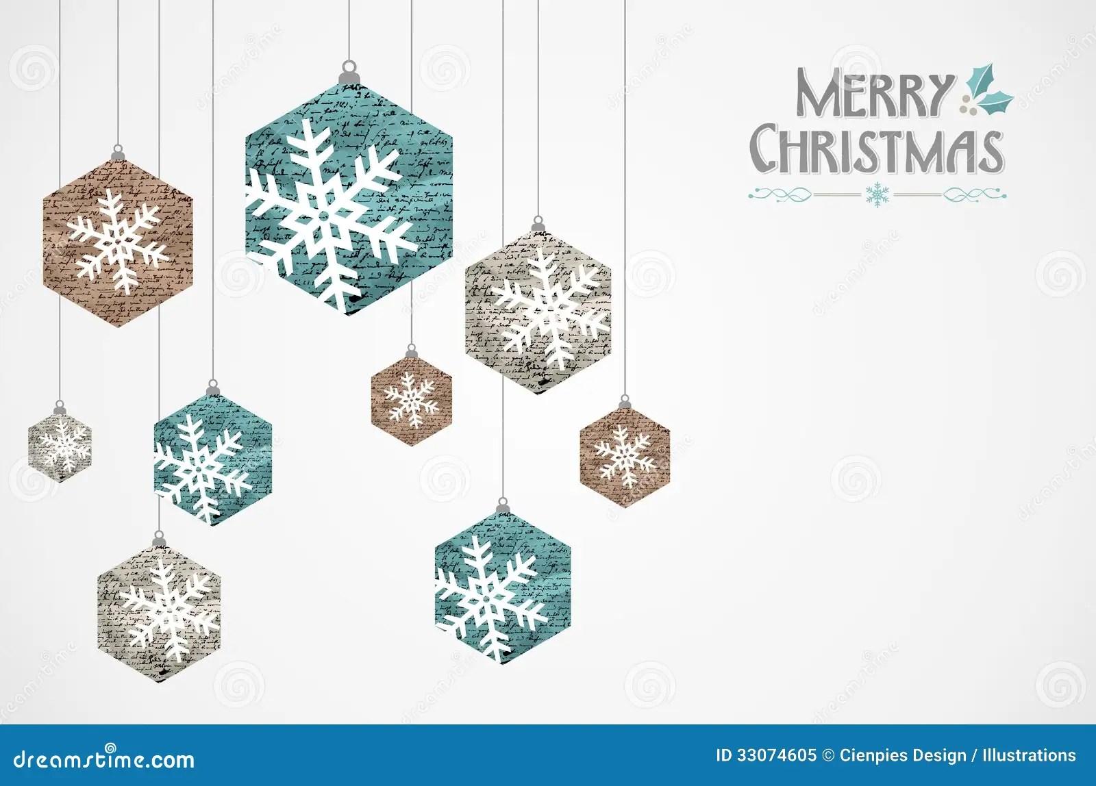 Merry Christmas Vintage Snowflakes Grunge Postcard Stock