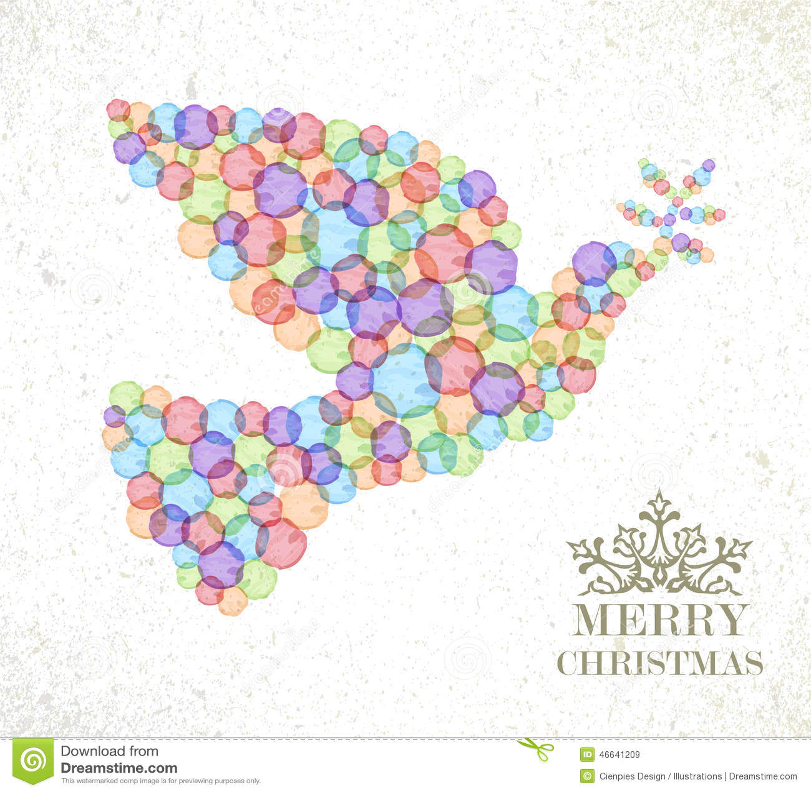 Merry Christmas Watercolor Spot Peace Dove Stock Vector